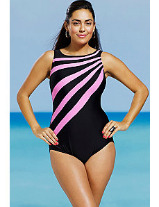 Pink Splice City High Neck Swimsuit by Delta Burke