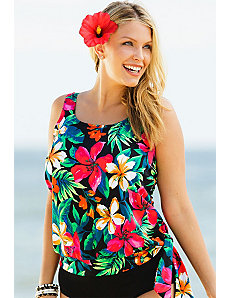 Fiji Blouson Tankini Top by Beach Belle