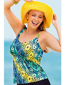 Tribal Flared Tankini Top by Beach Belle