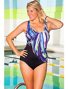 Chlorine Resistant Brush Strokes Swimsuit by Aquabelle