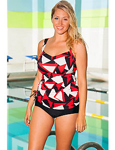 Chlorine Resistant Triangle Side Tie Tankini by Aquabelle
