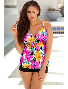 Hot Tropics Tie Front Boy Shortini by Swim Sexy