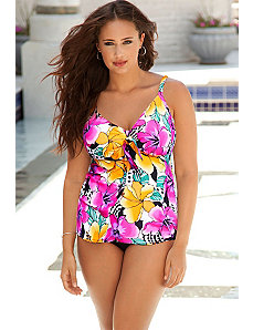 Hot Tropics Tie Front Tankini by Swim Sexy