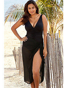 Black Sheer Sarong Cover Up by Beach Belle
