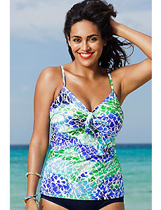 Oceanview Underwire Tie Front Tankini Top by Shore Club
