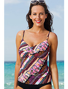Chino Twist Front Tankini Top by Shore Club