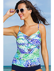 Oceanview Twist Front Tankini Top by Shore Club