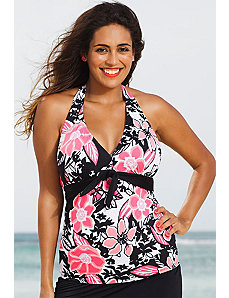 Rosewood Tie Front Halter Tankini Top by Shore Club