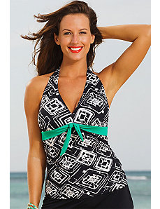 Tuscon Tie Front Halter Tankini Top by Shore Club