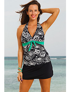 Tuscon Tie Front Halter Slit Skirtini by Shore Club