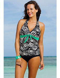Tuscon Tie Front Halter Tankini by Shore Club