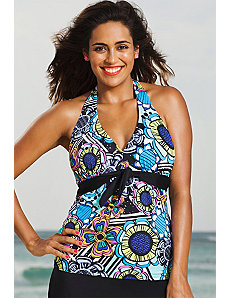 Flower Power Tie Front Halter Tankini Top by Shore Club