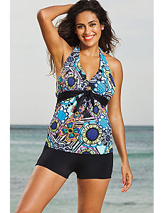 Flower Power Tie Front Halter Boy Shortini by Shore Club