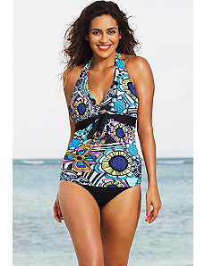 Flower Power Tie Front Halter Tankini by Shore Club