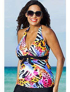 Tasmania Tie Front Halter Tankini Top by Shore Club