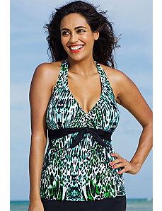 Serranilla Tie Front Halter Tankini Top by Shore Club