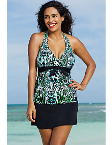 Serranilla Tie Front Halter Slit Skirtini by Shore Club