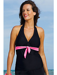 Spicy Tie Front Halter Tankini Top by Shore Club