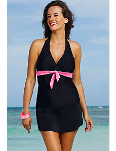 Spicy Tie Front Halter Slit Skirtini by Shore Club
