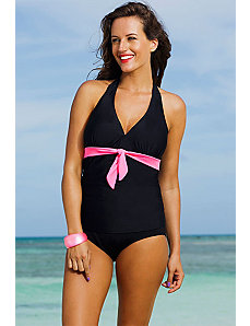 Spicy Tie Front Halter Tankini by Shore Club