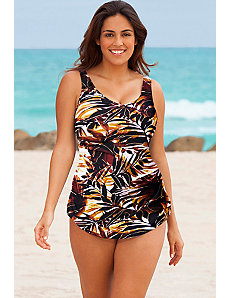 Desert Palm Sarong Front Swimsuit by Beach Belle