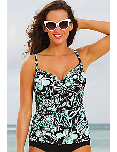 Trinity Beach Tab Front Tankini Top by Shore Club
