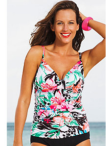 Coral Bay Tab Front Tankini Top by Shore Club