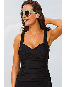 Black Twist Front Tankini Top by Shore Club
