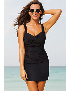 Black Twist Front Slit Skirtini by Shore Club