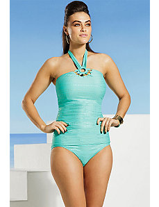 Tribal Muse Beaded Halter Tankini by Carmen Marc Valvo