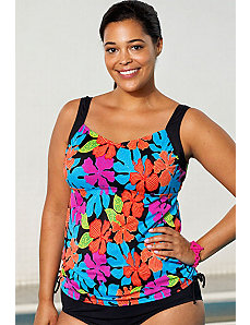 Gardenia Side Shirred Tankini Top by Aquabelle