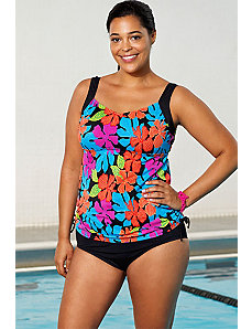 Gardenia Side Shirred Tankini by Aquabelle
