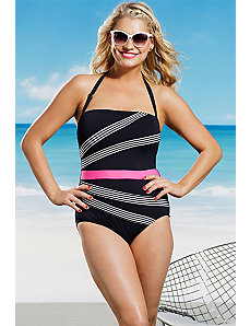 Stripe Bandeau Swimsuit by Anne Cole