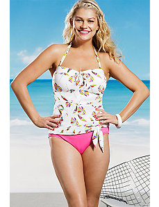 White Umbrella Tie Front Tankini by Anne Cole