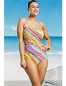 Painterly Stripe Shirred Front Bandeau Swimsuit by Anne Cole