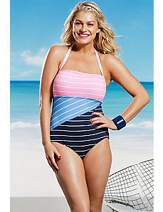 Sunbeam Stripe Bandeau Swimsuit by Anne Cole