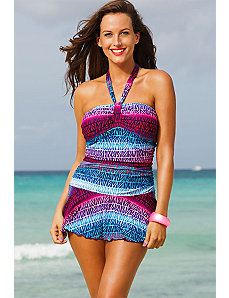 Dragonfruit Front Halter Swimdress by Shore Club