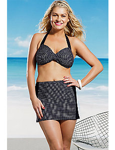 Polka Dot Halter High Waisted Swim Skirtini by Marilyn Monroe