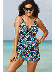 Flower Power Tie Front Swimdress by Shore Club