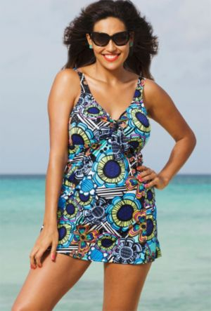 Flower Power Tie Front Swimdress