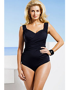 Black Wide Strap Draped Front Swimsuit by Badgley Mischka
