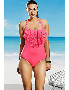 Tart See It Through Ruffle Flounce Swimsuit by Becca