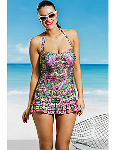 Tangier Ruffle Halter Swimdress by Becca