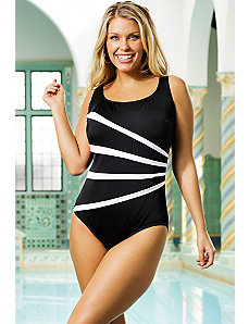 Longitude White Folded Fan Swimsuit by Longitude