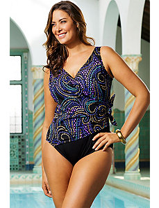 Blue Fabulous Surplice Swimsuit by Longitude
