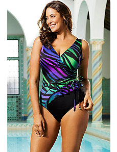 Zany Zebra Mesh Ruffle Side Tie Surplice Swimsuit by Longitude