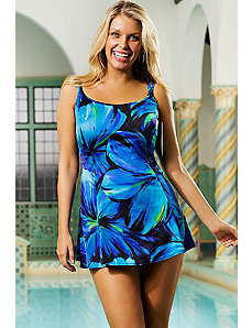 Blue Darling Princess Seam Swimdress by Longitude