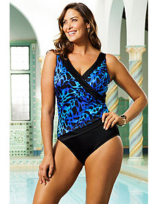 Kitten Piped Side Shirred Surplice Swimsuit by Longitude