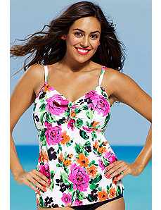 Summer Romance Tie Front Tankini Top by Shore Club