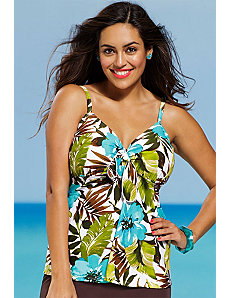 Fiji Floral Tie Front Tankini Top by Shore Club